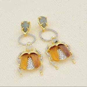 Alexis Bittar Crystal Beetle Earrings